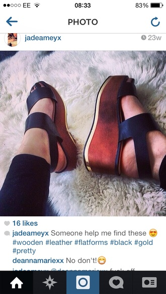 shoes wooden wedges leather sandals black shoes
