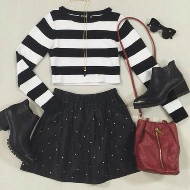 bag hair accessory shoes skirt sweater