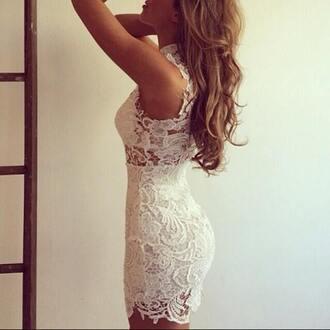 dress white dress lace dress short dress bodycon dress cocktail dress
