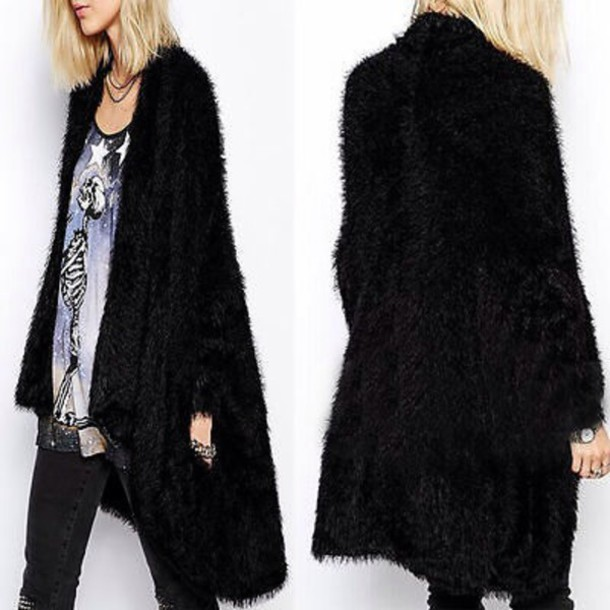 coat black fluffy knee length open front