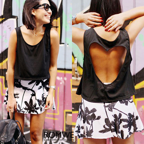ROMWE | ROMWE Coconut Trees Elastic Pleated Print White Skirt, The Latest Street Fashion
