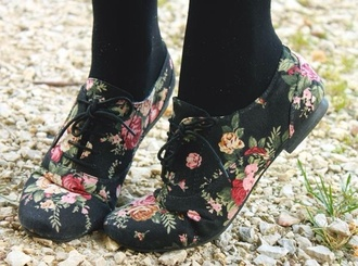 shoes floral black shoes oxfords cute adorable flower hipster floral floral brouges flats laced up flats low heel oxfords floral oxfords brouges