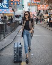 jacket,blazer,sunglasses,shoes,black shoes,traveling,travel bag,travel outfits,denim,jeans,blue jeans