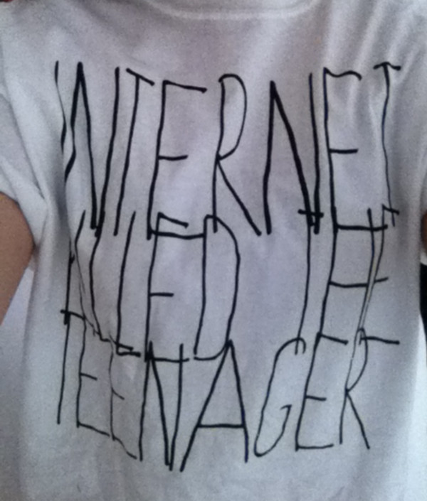 shirt quote on it t-shirt internet killed the teenager top grey black
