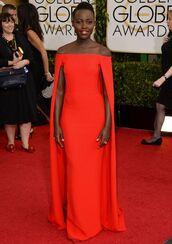 gown,red dress,lupita nyong'o,prom dress,dress,red carpet dress,orange dress