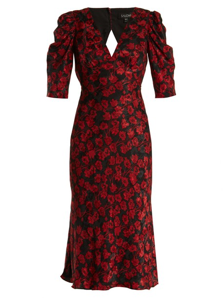 Saloni dress silk print red