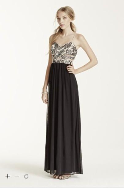 dress, sequins, mesh, black, prom, spaghetti strap, davids bridal ...