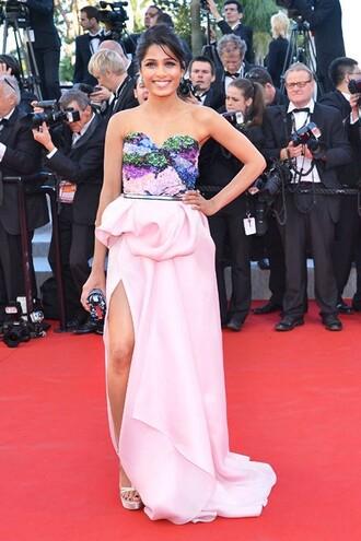 dress pink prom long freida pinto