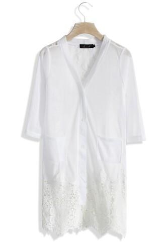 cardigan white cardigan chicwish sheer lace crochet cardigan