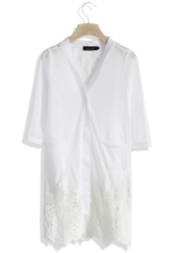 cardigan chicwish sheer lace crochet cardigan white cardigan