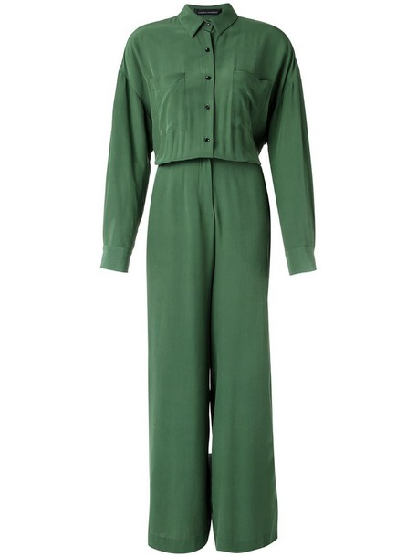 Andrea Marques - silk jumpsuit - women - Silk - 40, Green, Silk