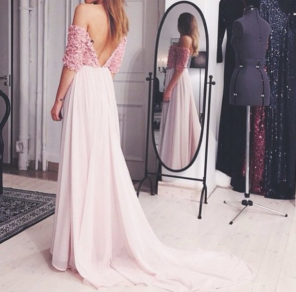 dress flower top open back prom dress open back open back dresses long dress pink dress floral dress