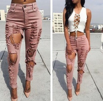 pants baddieville botique order now distressed pants pink casual heels white wrap top summer outfits sexy yasss slay slay baddieville.com