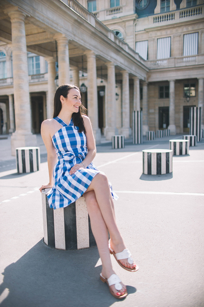 thecollegeprepster blogger dress shoes jewels bag sunglasses flats summer outfits summer dress plaid dress mini dress