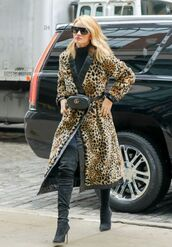 coat,animal print,boots,rosie huntington-whiteley,sunglasses,streetstyle