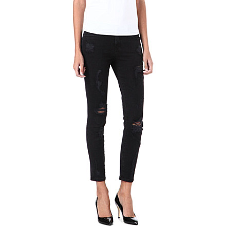 CURRENT/ELLIOTT - The Stiletto distressed skinny mid-rise jeans | Selfridges.com