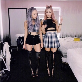 shoes skater skirt shorts suspenders crop tops over the knee boots tumblr outfit