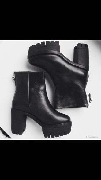 shoes black leather platforms heels