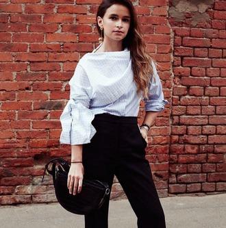 shirt tumblr miroslava duma blue shirt blouse blue blouse light blue pants black pants bag black bag earrings