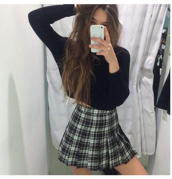 skirt plaid skirt sweater blue white tennis skirt