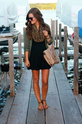 jacket black blackdress dress leopard print olive olivegreen scarf bag army green leopard print little black dress cream color
