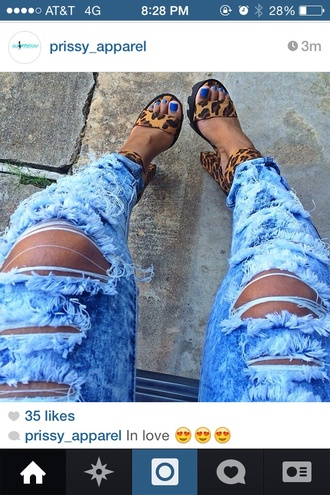 shoes leopard print high heels leopard print leopard shoes platform shoes sandals ripped jeans ripped damaged jeans jeans denim