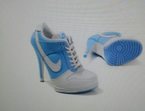 shoes nike blue and white high heels