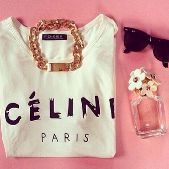 t-shirt celine paris shirt celine celine paris tshirt celine paris t shirt jewelry jewels gold sunglasses black spring fashion nail polish