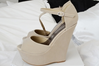 shoes beige high heels wedges peep toe ankle strap heels heel
