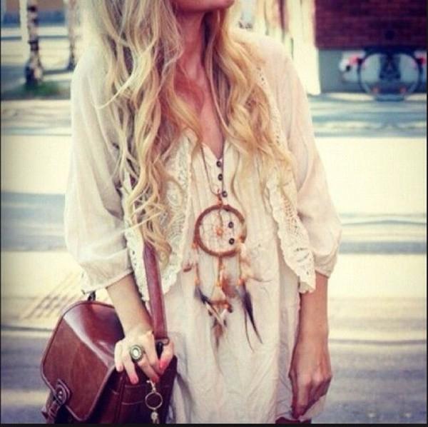 jewels boho dreamcatcher necklace feathers bag dress