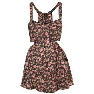 dress brown dress floral dress