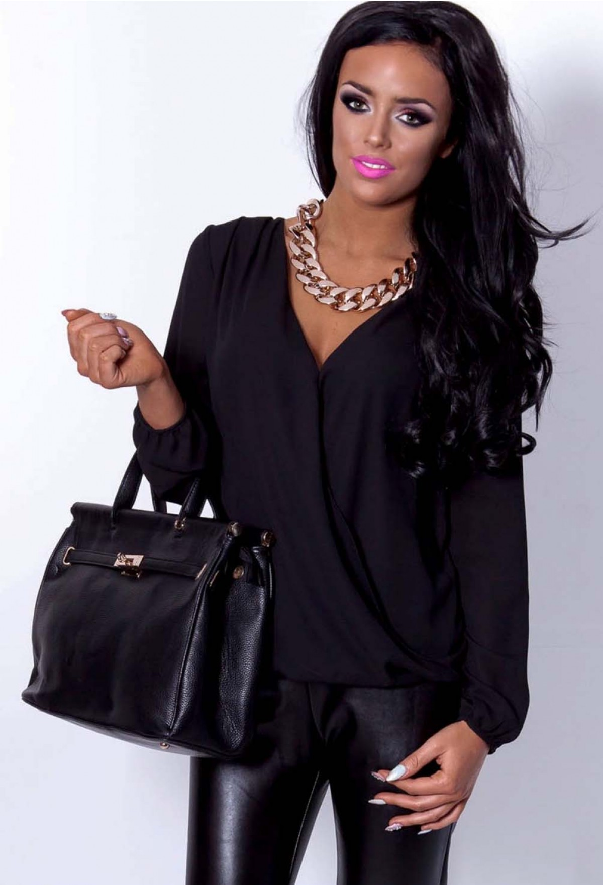 Playa Drape Chiffon Wrap Effect Blouse | Pink Boutique