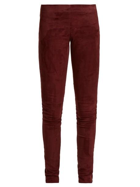Joseph leggings suede leggings high suede burgundy pants