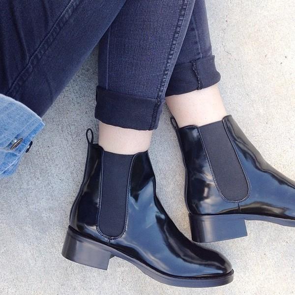 black shoes blue jeans zara clothes shoes boots vinyl ankle boots street