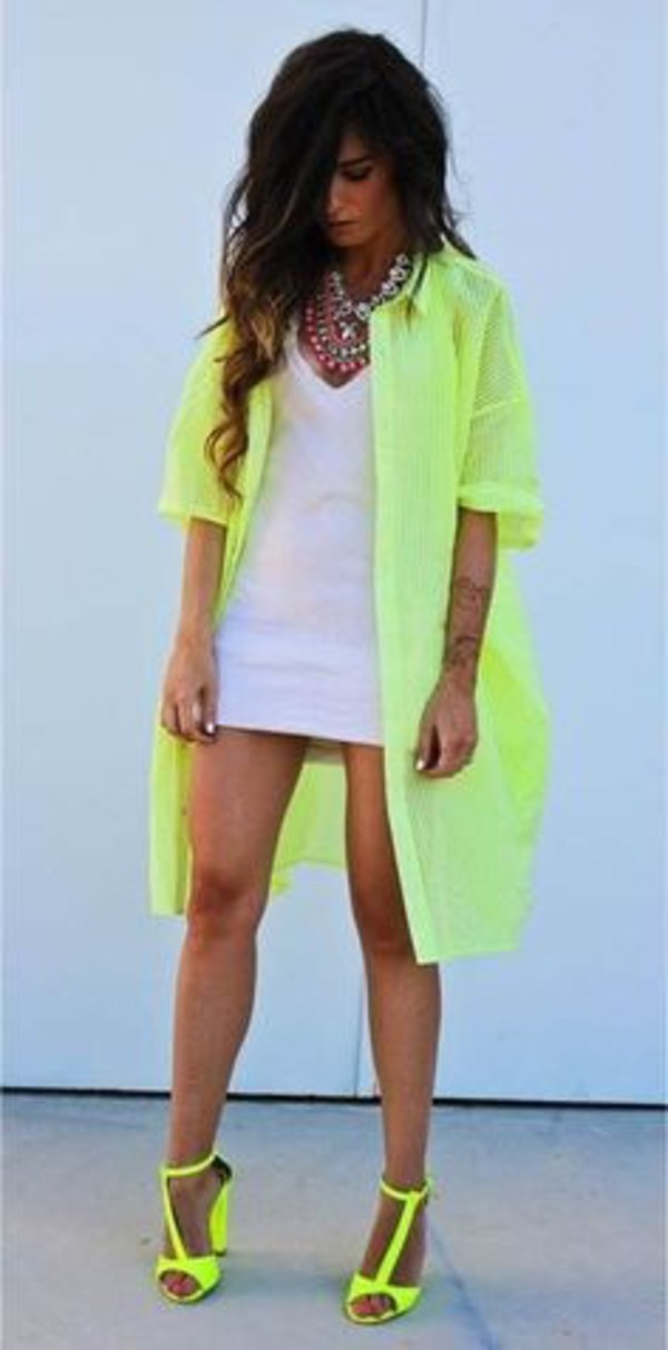 Dress white dress neon green jacket neon green heels jacket shoes - Wheretoget