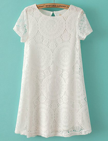 White Short Sleeve Hollow Lace Loose Dress - Sheinside.com