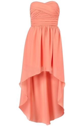 dress high low dress peach dress