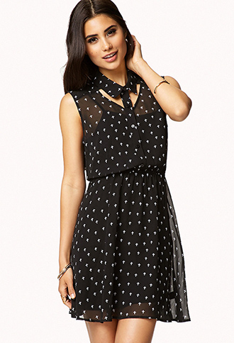 Chiffon Cross Print Dress | FOREVER21 - 2051608922