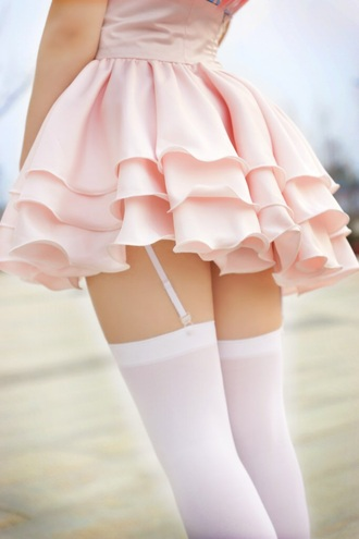 skirt kawaii fairy kei japanese fashion lolita lolita skirt pink baby pink baby girl high waisted layered ruffle jfashion taobao liz lisa socks thigh highs knee high socks garter garter belt tumblr gyaru hime gyaru pastel pastel pink tiered skirt japan japanese kawaii dress kawaii outfit white thigh high socks pink dress