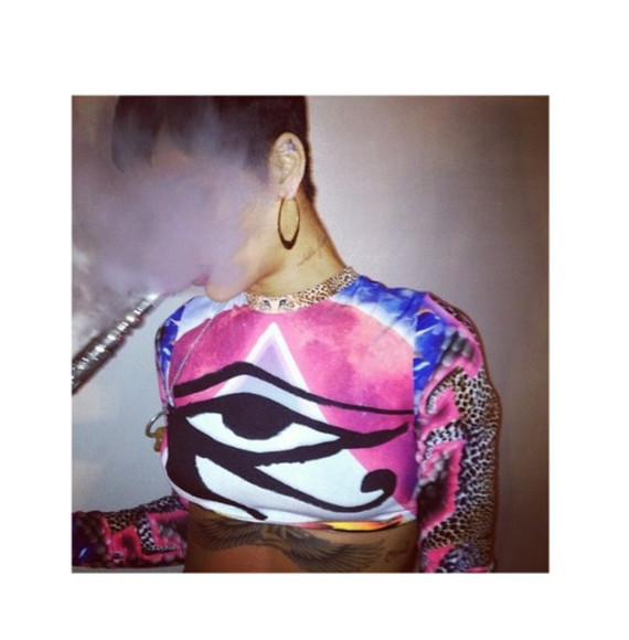 eye shirt rihanna crop tops tie dye clothes