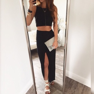 dress tumblr black skirt black skirt maxi skirt slit skirt crop tops black top black crop top clutch snake snake print sandals flat sandals white sandals