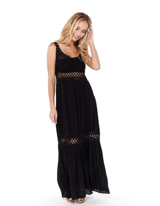 dress crochet crochet inset black maxi black dress black maxi dress bohemian bohemian dress