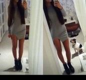 dress,grey,cut,slim,bodycon,long sleeves