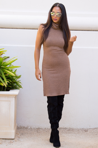 dress bodycon dress bodycon sexy sexy dress tan fall outfits fall dress turtleneck dress turtleneck boots sunglasses fashion style tumblr outfit outfit trendy