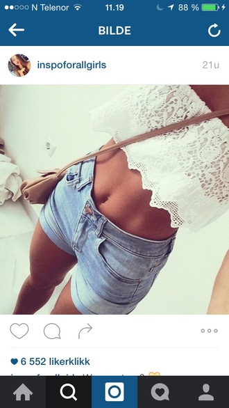 top lace lace up lace top short shorts denim denim shorts girly girl purse blue white white top