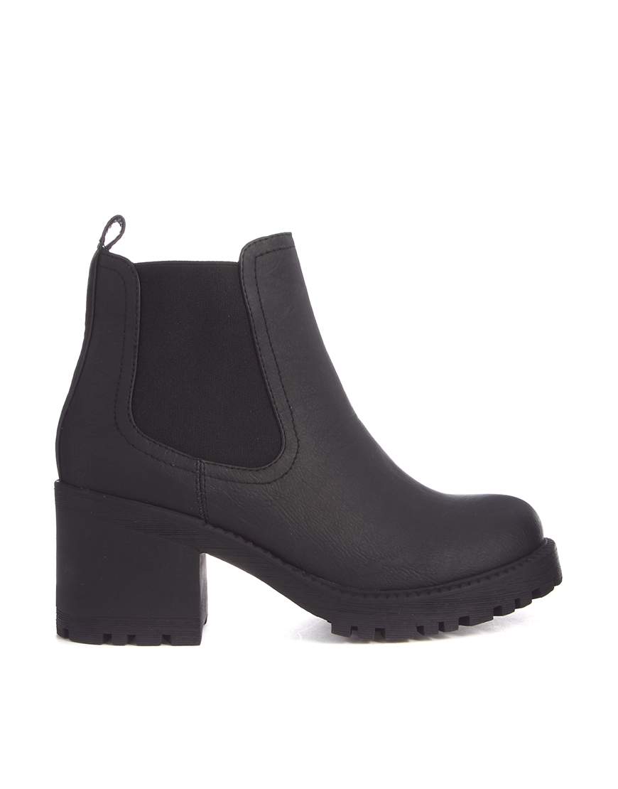 New Look Chewy Black Heavy Profile Chelsea Boots at asos.com