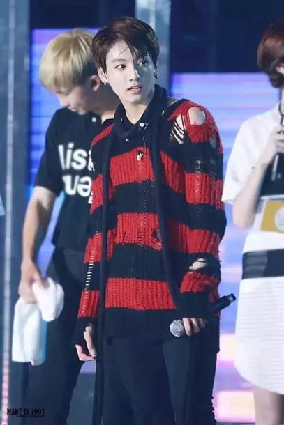 sweater korean fashion mens sweater knitted sweater t-shirt bts red ripped black jungkook