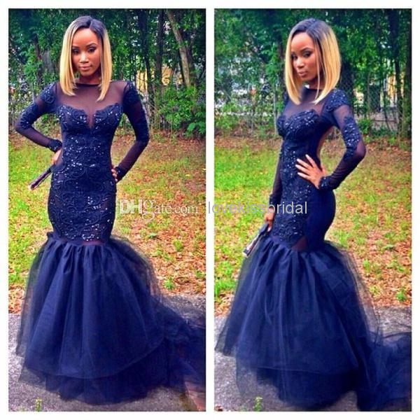 Cheap 2014 Sex Prom Dress - Discount 2014 New Design Elegant Black Crystal Long Sleeve See through Backless Mermaid Long Prom Dresses Formal Evening Dress Plus Size Custom Made Online with $131.31/Piece | DHgate