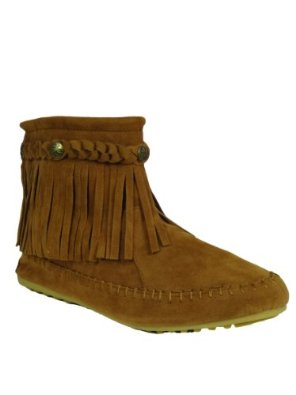 Amazon.com: tg 01 fringe moccasin ankle boots tan: shoes