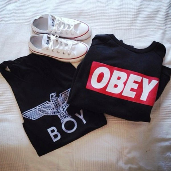 sweater sweatshirt oversized sweater obey boy london